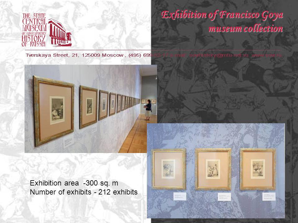 Exhibition of Francisco Goya museum collection Exhibition area -300 sq.