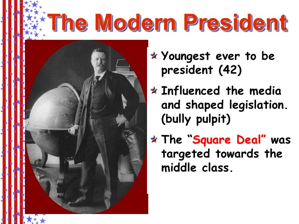 The Modern President Youngest ever to be president (42) Influenced the media and shaped legislation.