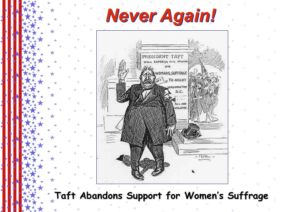 Never Again! Taft Abandons Support for Women's Suffrage