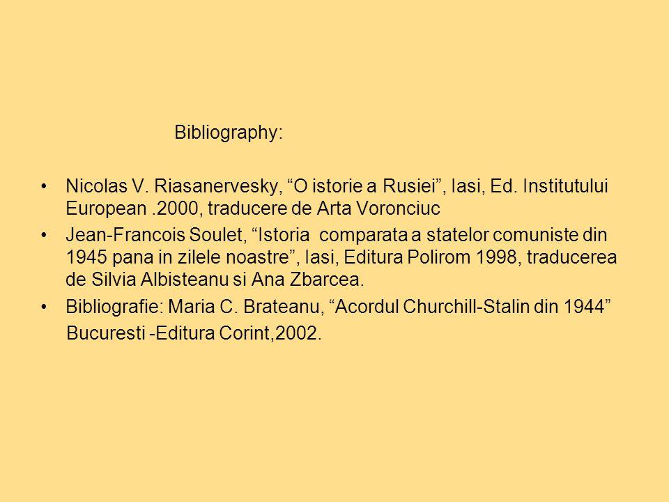 Bibliography: Nicolas V. Riasanervesky, O istorie a Rusiei , Iasi, Ed.