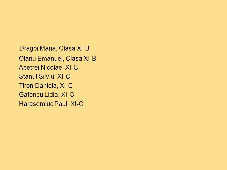 Dragoi Maria, Clasa XI-B Olariu Emanuel, Clasa XI-B Apetrei Nicolae, XI-C Stanut Silviu, XI-C Tiron Daniela, XI-C Gafencu Lidia, XI-C Harasemiuc Paul, XI-C