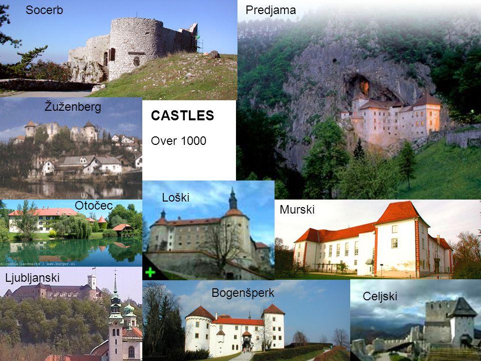 CASTLES Over 1000 PredjamaSocerb Ljubljanski Žuženberg Otočec Murski Bogenšperk Loški Celjski