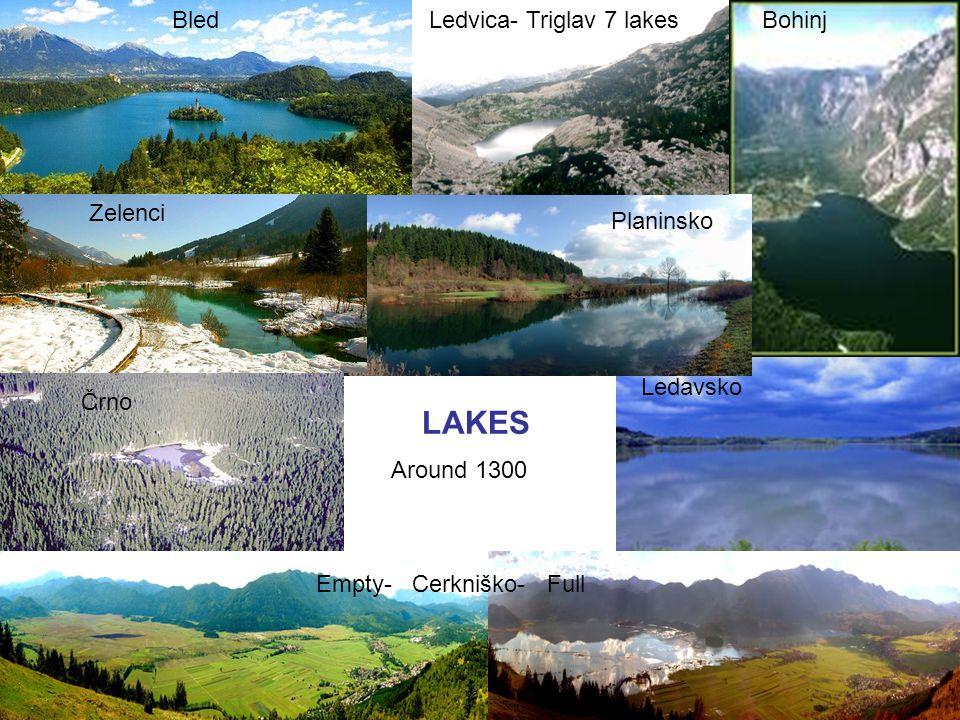 Empty- Cerkniško- Full LAKES Bled Črno BohinjLedvica- Triglav 7 lakes Ledavsko Zelenci Planinsko Around 1300