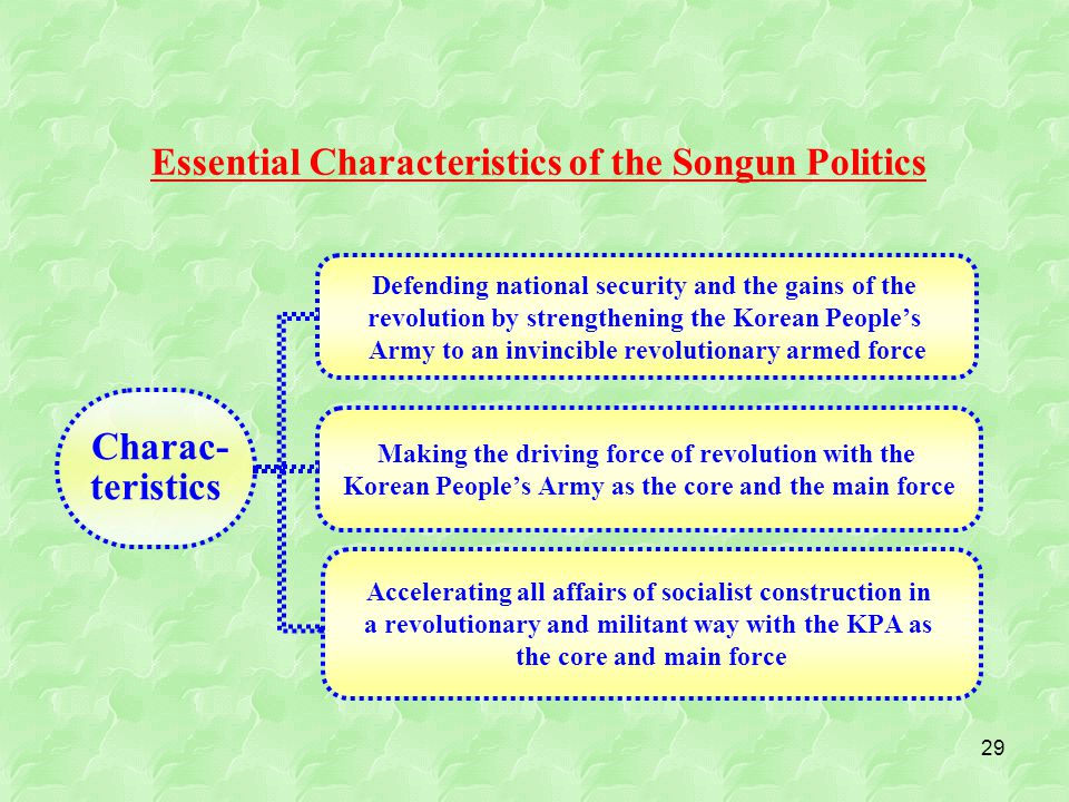 29 Essential Characteristics of the Songun Politics Charac- teristics Defending national security and the gains of the revolution by strengthening the Korean People's Army to an invincible revolutionary armed force Making the driving force of revolution with the Korean People's Army as the core and the main force Accelerating all affairs of socialist construction in a revolutionary and militant way with the KPA as the core and main force