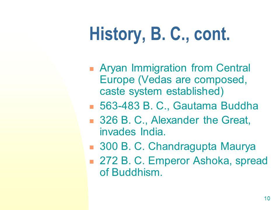10 History, B. C., cont.