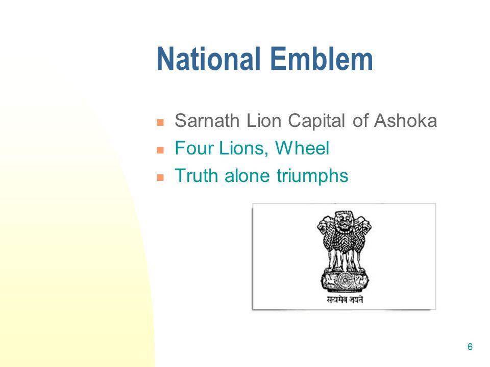 7 Other National Anthem – Jana gana mana National Animal- Tiger National Bird- Peacock National Flower- Lotus National Languages Assamese, Bengali, Gujarati, Hindi, Kannada, Kashmiri, Konkani, Malayalam, Manipuri, Marathi, Nepali, Oriya, Punjabi, Sanskrit, Sindhi, Tamil, Telugu, Urdu