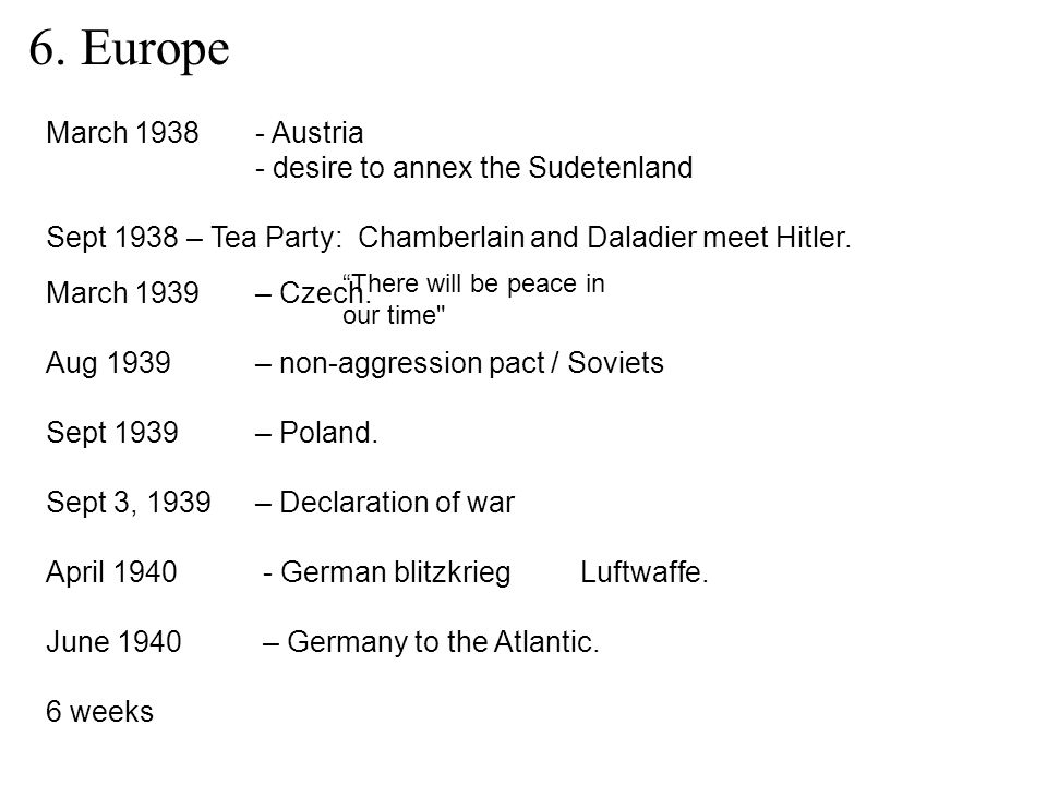 6. Europe March 1938 - Austria - desire to annex the Sudetenland Sept 1938 – Tea Party: Chamberlain and Daladier meet Hitler. March 1939– Czech. Aug 1