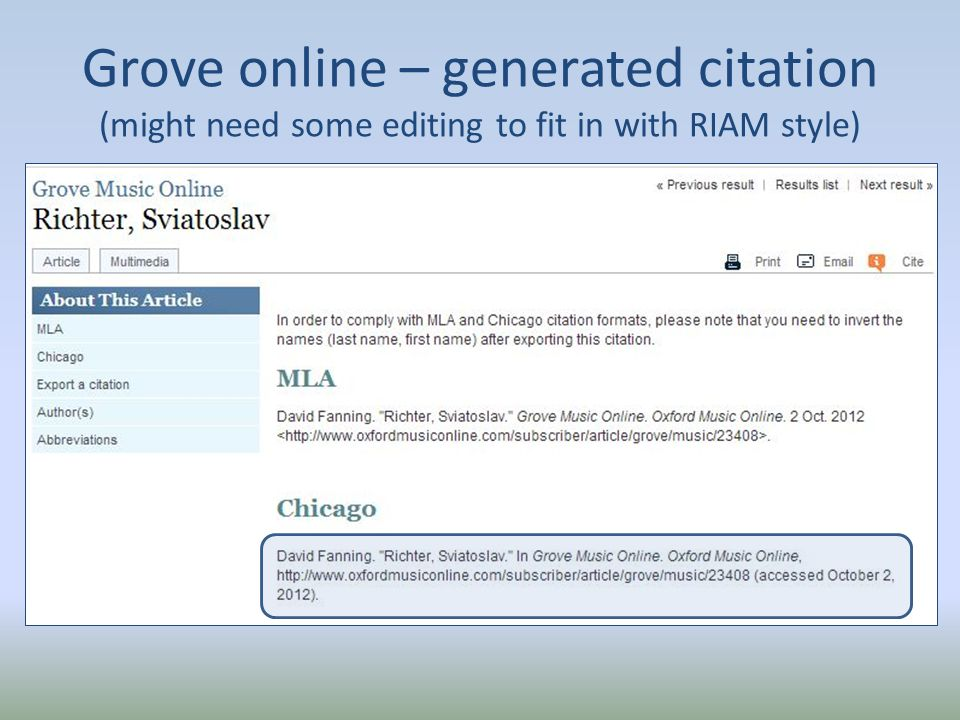Grove online – generated citation (might need some editing to fit in with RIAM style)