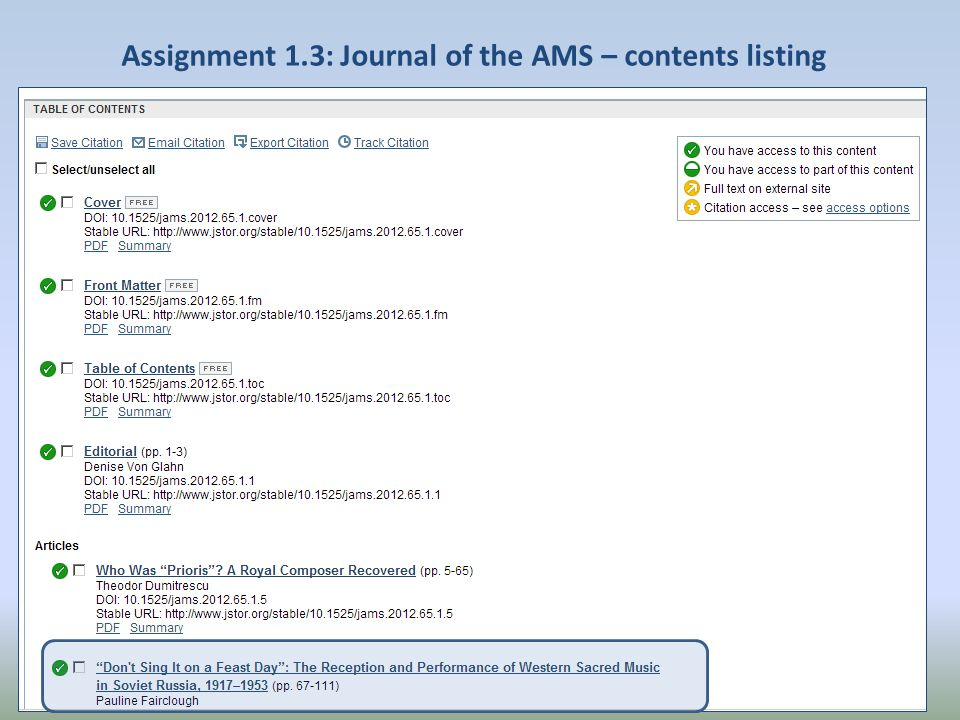 Assignment 1.3: Journal of the AMS – contents listing