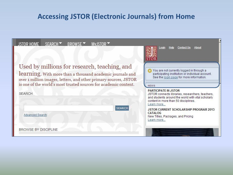 Accessing JSTOR (Electronic Journals) from Home