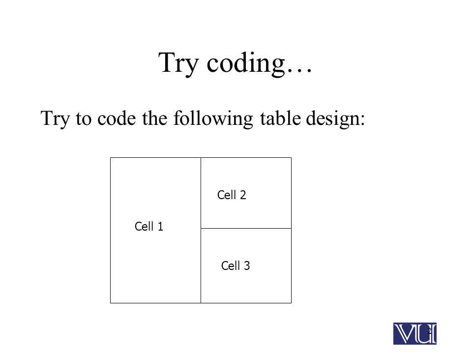 2 Try coding… Try to code the following table design: Cell 1 Cell 2 Cell 3