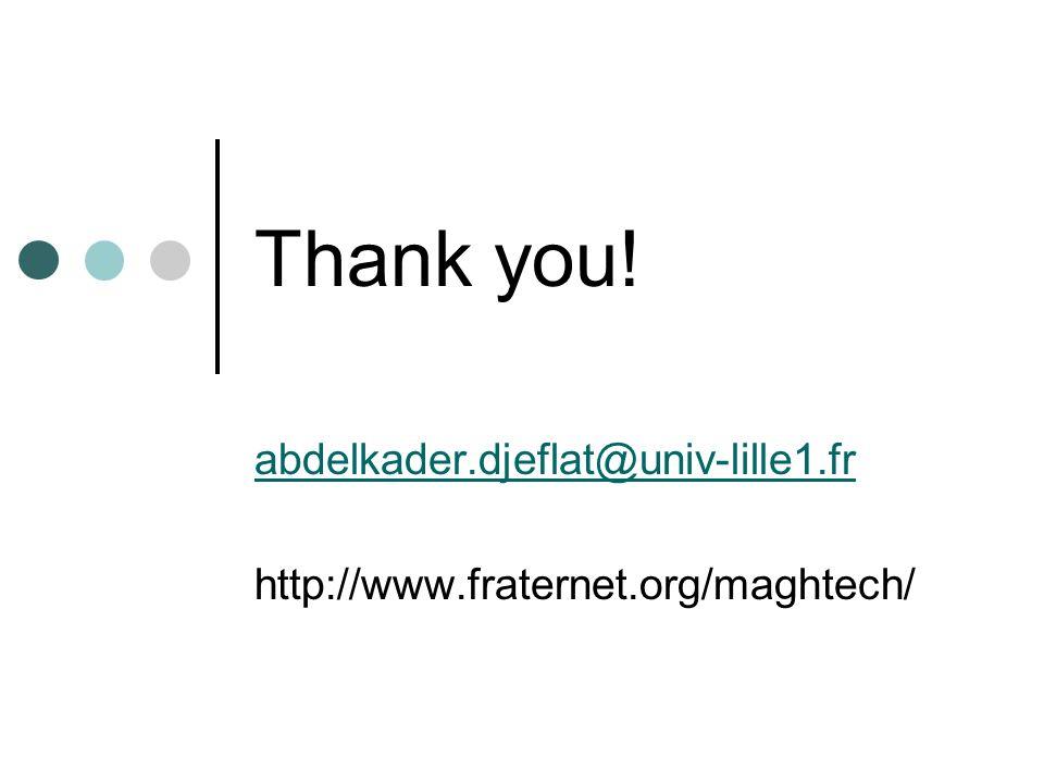 Thank you! abdelkader.djeflat@univ-lille1.fr http://www.fraternet.org/maghtech/