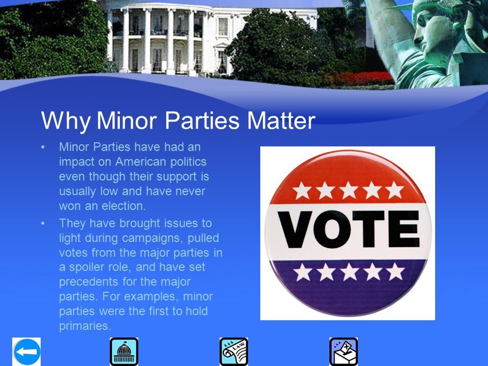 Why Minor Parties Matter Minor Parties have had an impact on American politics even though their support is usually low and have never won an election.