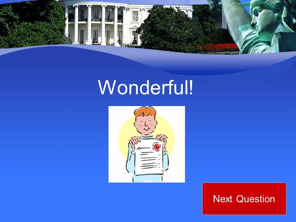 Wonderful! Next Question