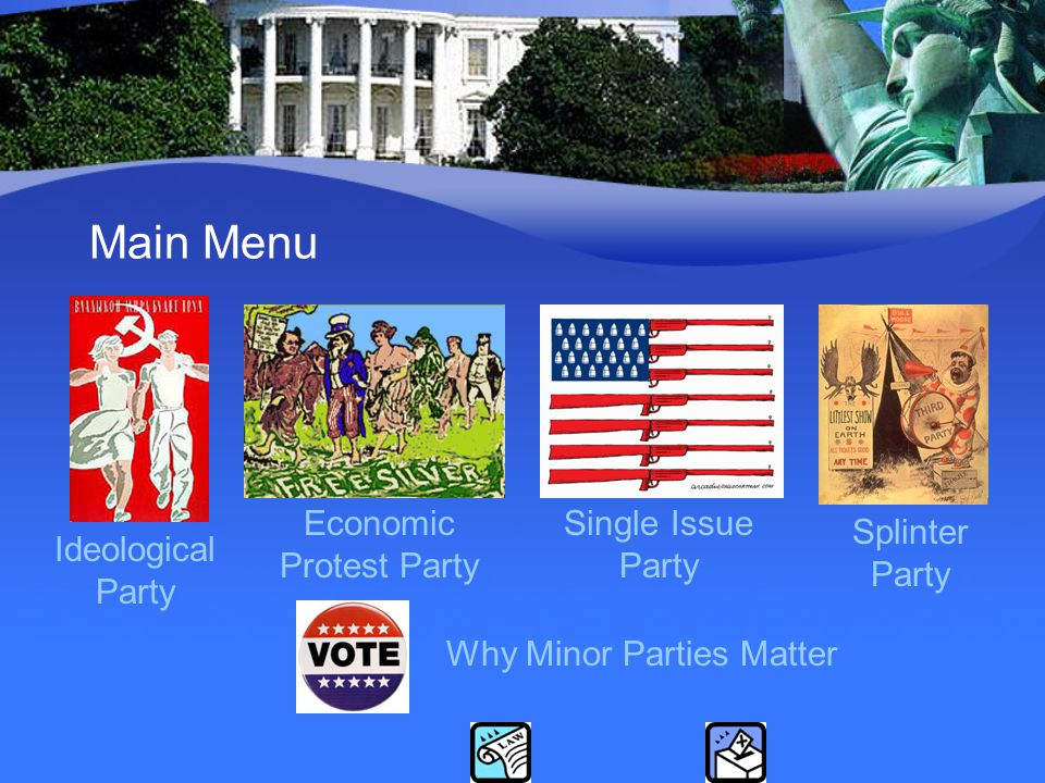 Main Menu Splinter Party Economic Protest Party Ideological Party Single Issue Party Why Minor Parties Matter