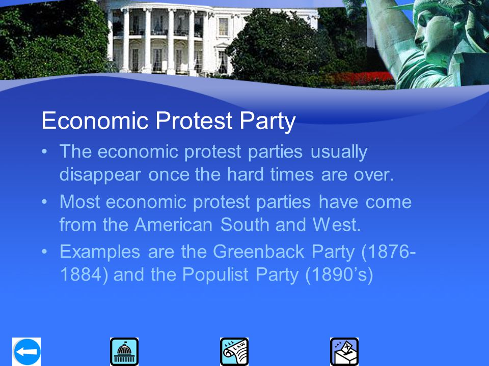 Economic Protest Party The economic protest parties usually disappear once the hard times are over.