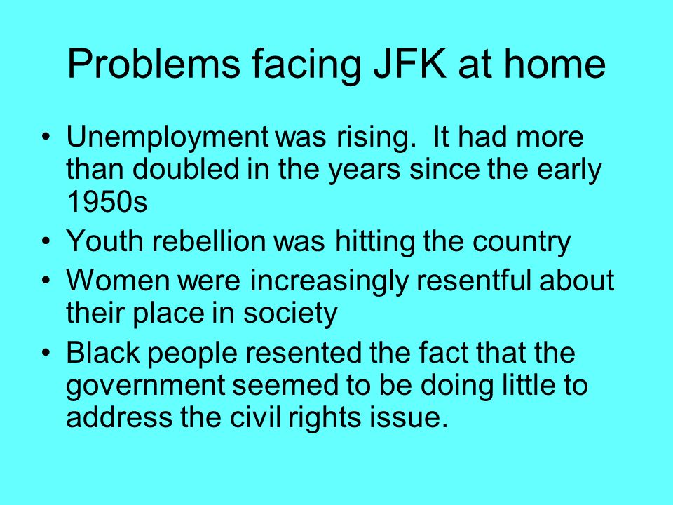 Problems facing JFK at home Unemployment was rising.