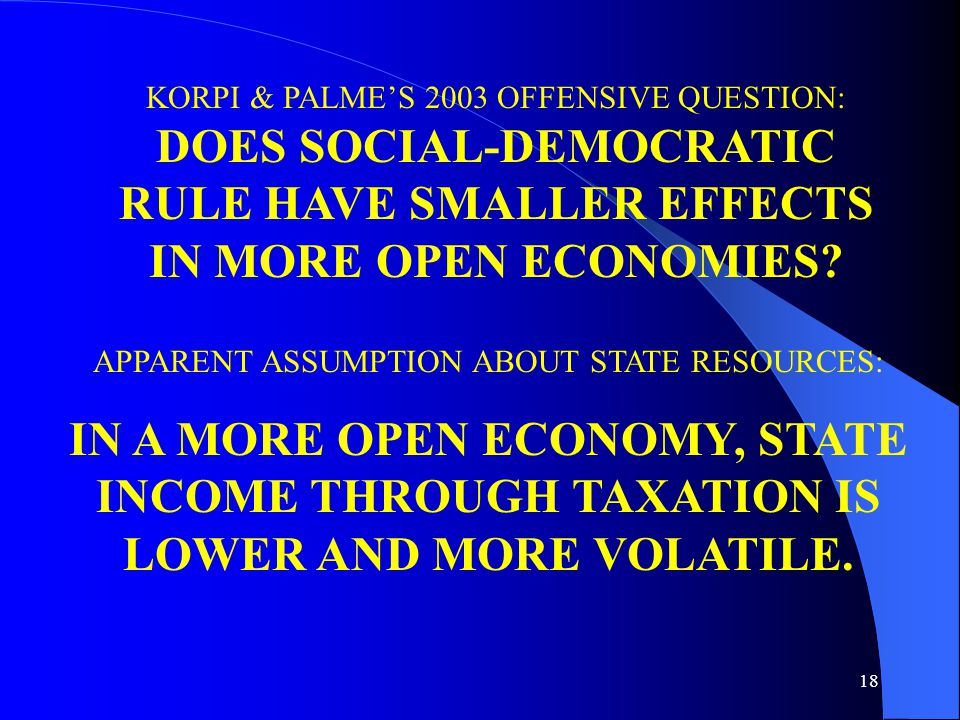 18 KORPI & PALME'S 2003 OFFENSIVE QUESTION: DOES SOCIAL-DEMOCRATIC RULE HAVE SMALLER EFFECTS IN MORE OPEN ECONOMIES.