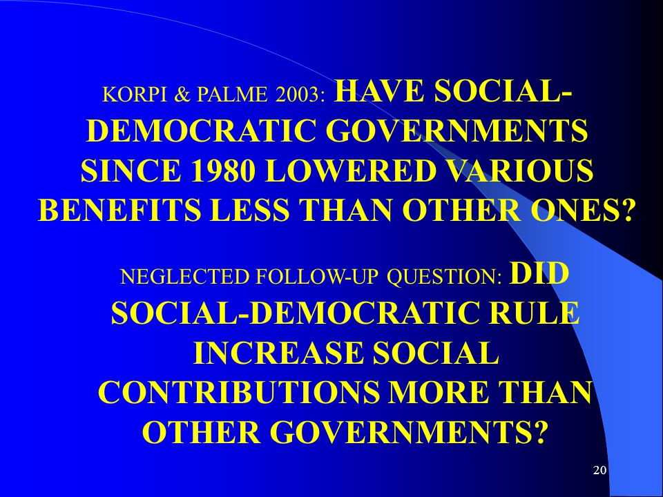 20 KORPI & PALME 2003: HAVE SOCIAL- DEMOCRATIC GOVERNMENTS SINCE 1980 LOWERED VARIOUS BENEFITS LESS THAN OTHER ONES.