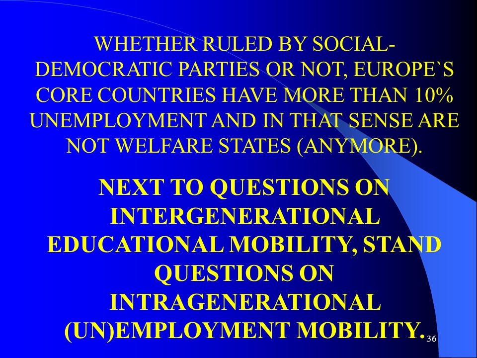 36 WHETHER RULED BY SOCIAL- DEMOCRATIC PARTIES OR NOT, EUROPE`S CORE COUNTRIES HAVE MORE THAN 10% UNEMPLOYMENT AND IN THAT SENSE ARE NOT WELFARE STATES (ANYMORE).