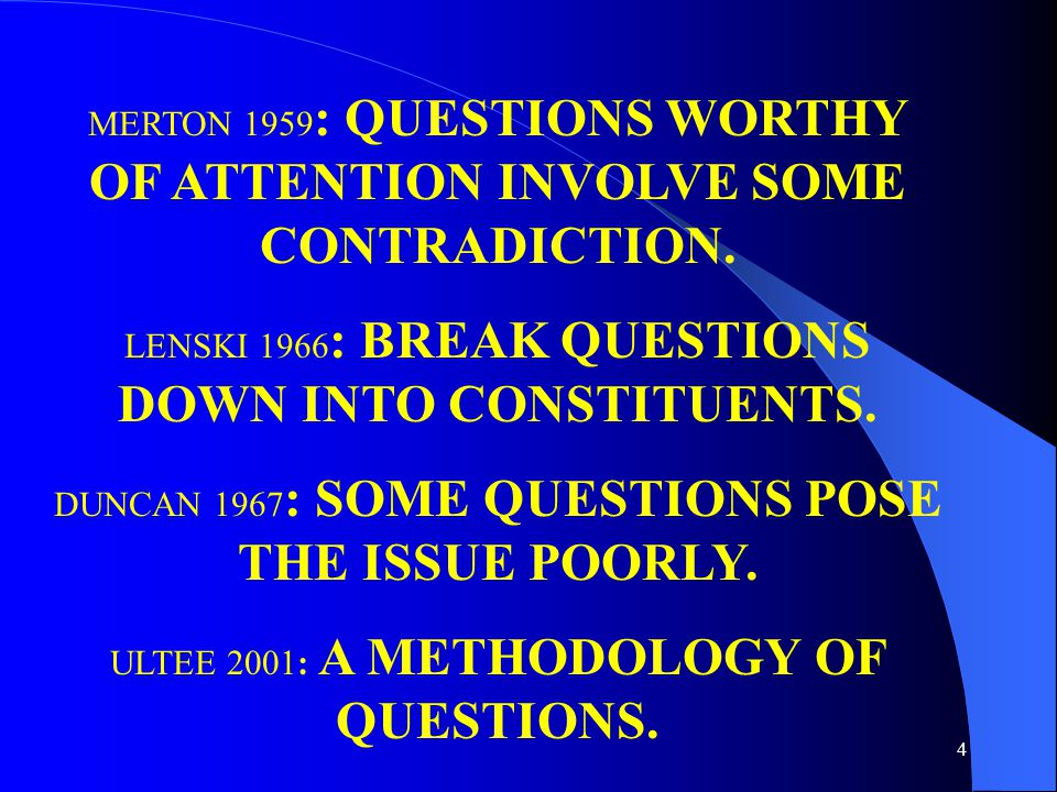 4 MERTON 1959 : QUESTIONS WORTHY OF ATTENTION INVOLVE SOME CONTRADICTION.