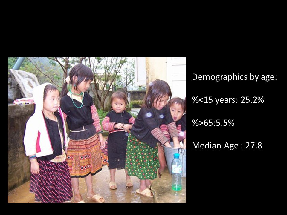 Demographics by age: %<15 years: 25.2% %>65:5.5% Median Age : 27.8