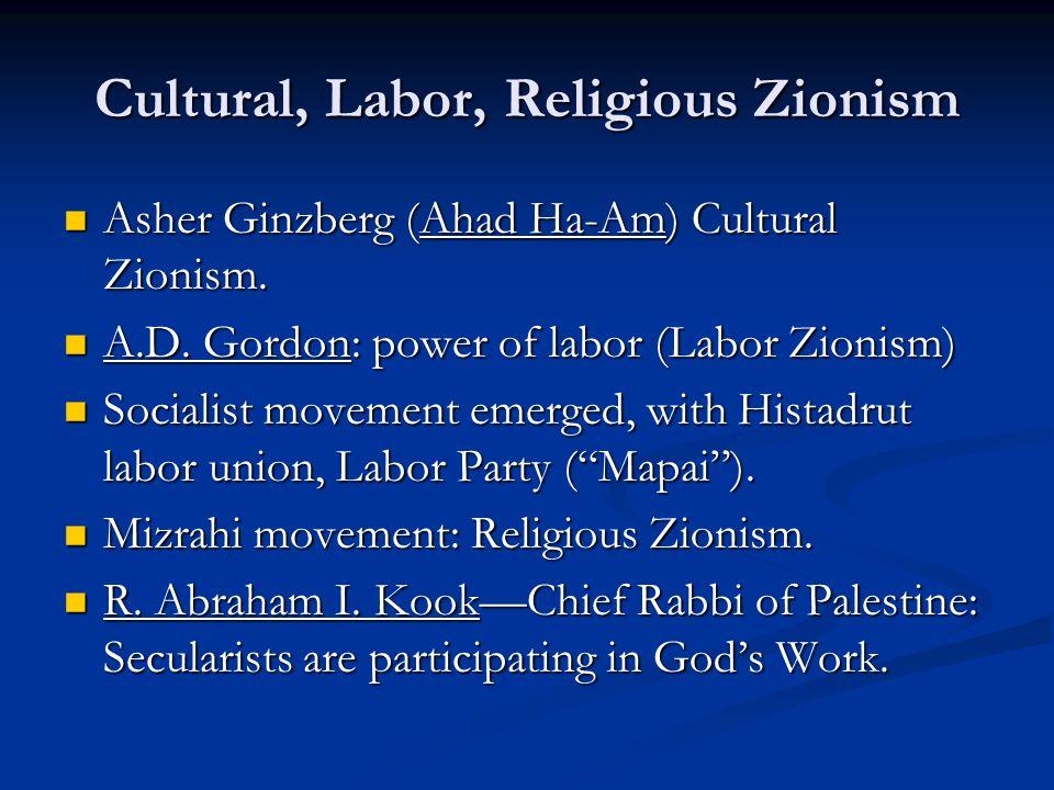 Cultural, Labor, Religious Zionism Asher Ginzberg (Ahad Ha-Am) Cultural Zionism. Asher Ginzberg (Ahad Ha-Am) Cultural Zionism. A.D. Gordon: power of l