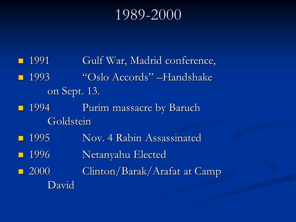 "1989-2000 1991 Gulf War, Madrid conference, 1991 Gulf War, Madrid conference, 1993 ""Oslo Accords"" –Handshake on Sept. 13. 1993 ""Oslo Accords"" –Handsha"