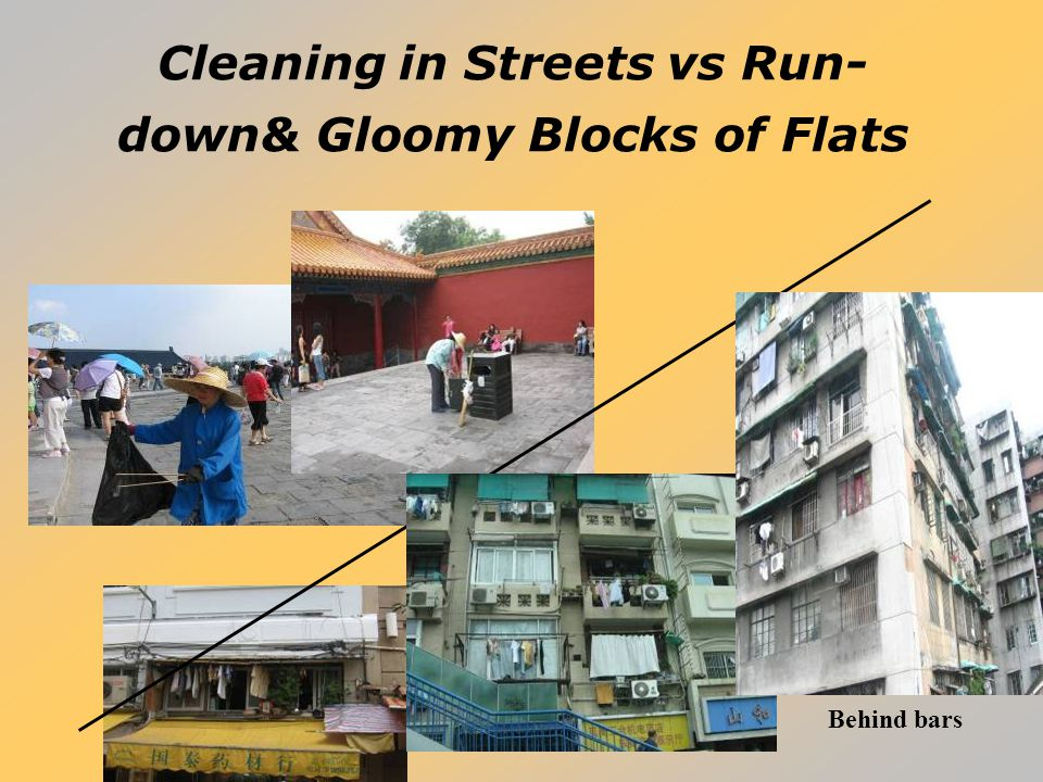 Cleaning in Streets vs Run- down& Gloomy Blocks of Flats Behind bars