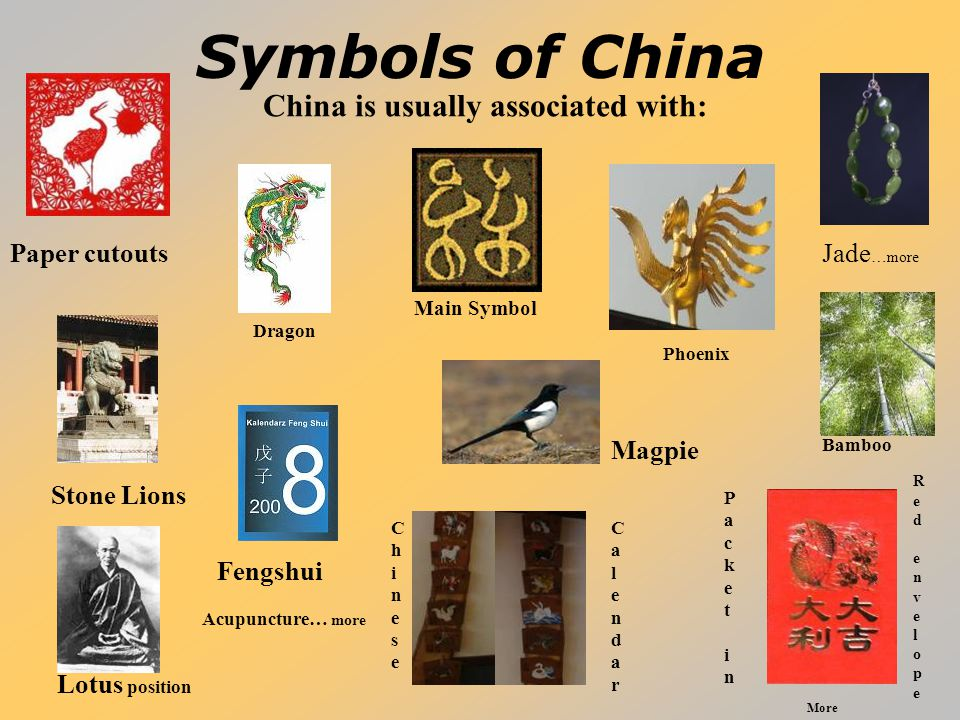 Symbols of China Paper cutouts Lotus position China is usually associated with: Bamboo Fengshui Stone Lions Jade …more Magpie Main Symbol RedenvelopeR