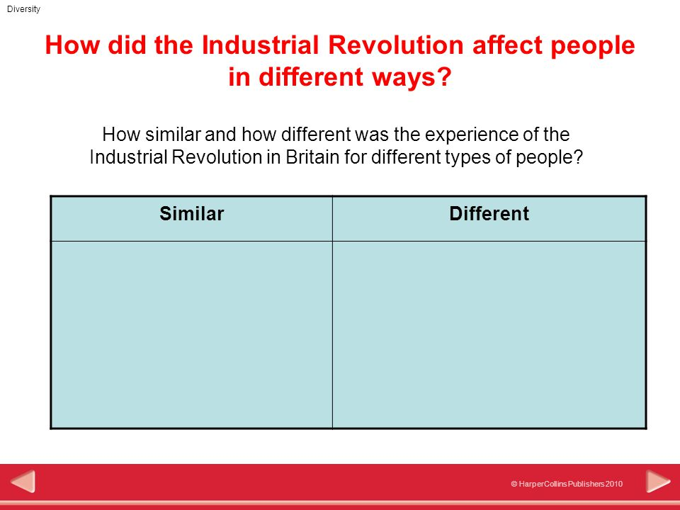 © HarperCollins Publishers 2010 Diversity How did the Industrial Revolution affect people in different ways? How similar and how different was the exp