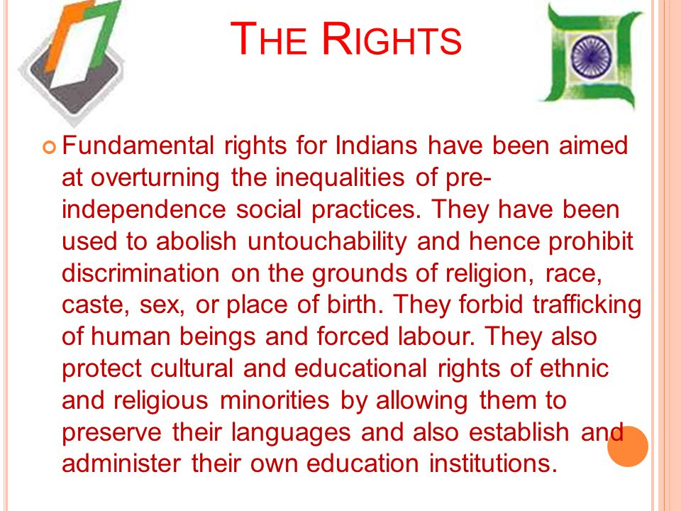 Right to equality Right to equality is most important right.