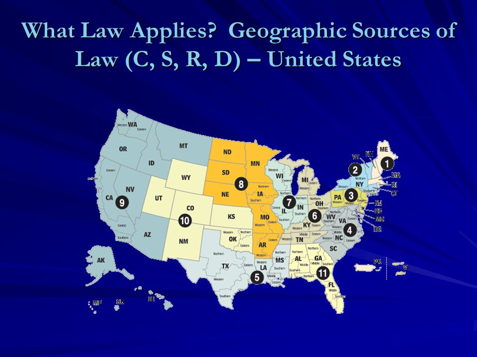 What Law Applies Geographic Sources of Law (C, S, R, D) – United States