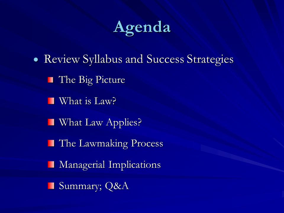 Agenda  Review Syllabus and Success Strategies The Big Picture The Big Picture What is Law.