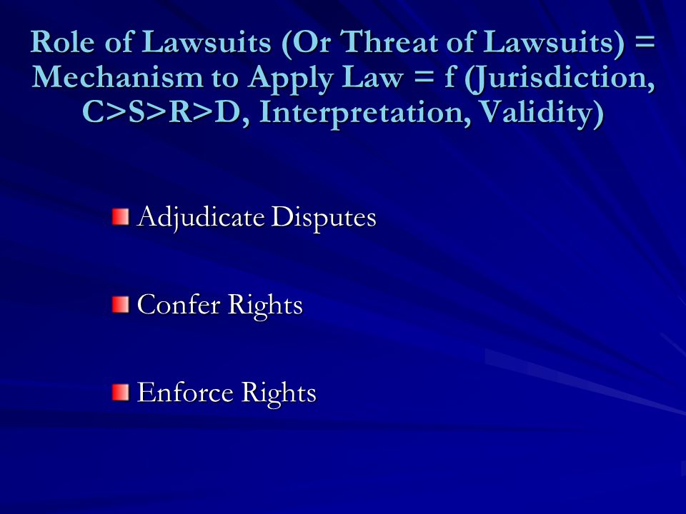 Role of Lawsuits (Or Threat of Lawsuits) = Mechanism to Apply Law = f (Jurisdiction, C>S>R>D, Interpretation, Validity) Adjudicate Disputes Confer Rights Enforce Rights