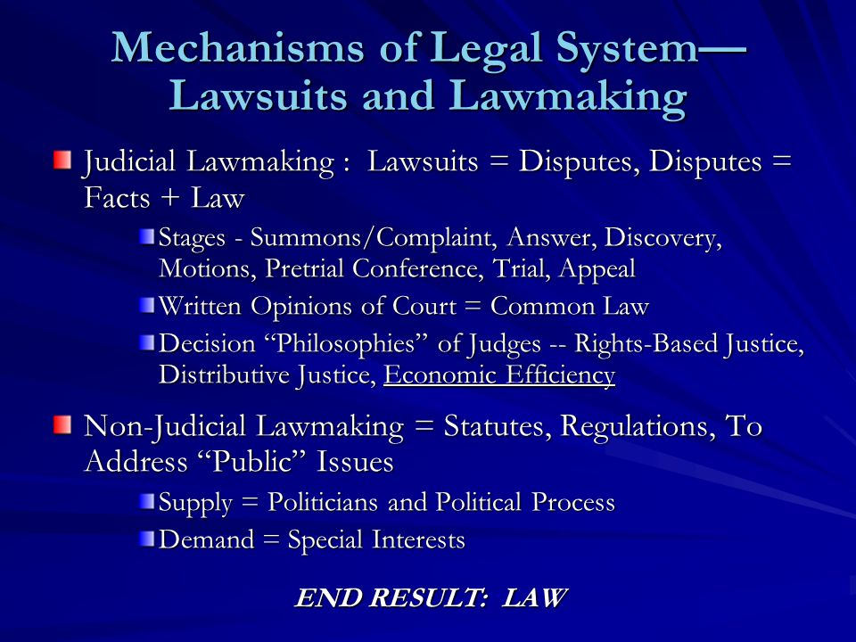 Mechanisms of Legal System— Lawsuits and Lawmaking Judicial Lawmaking : Lawsuits = Disputes, Disputes = Facts + Law Stages - Summons/Complaint, Answer, Discovery, Motions, Pretrial Conference, Trial, Appeal Written Opinions of Court = Common Law Decision Philosophies of Judges -- Rights-Based Justice, Distributive Justice, Economic Efficiency Non-Judicial Lawmaking = Statutes, Regulations, To Address Public Issues Supply = Politicians and Political Process Demand = Special Interests END RESULT: LAW