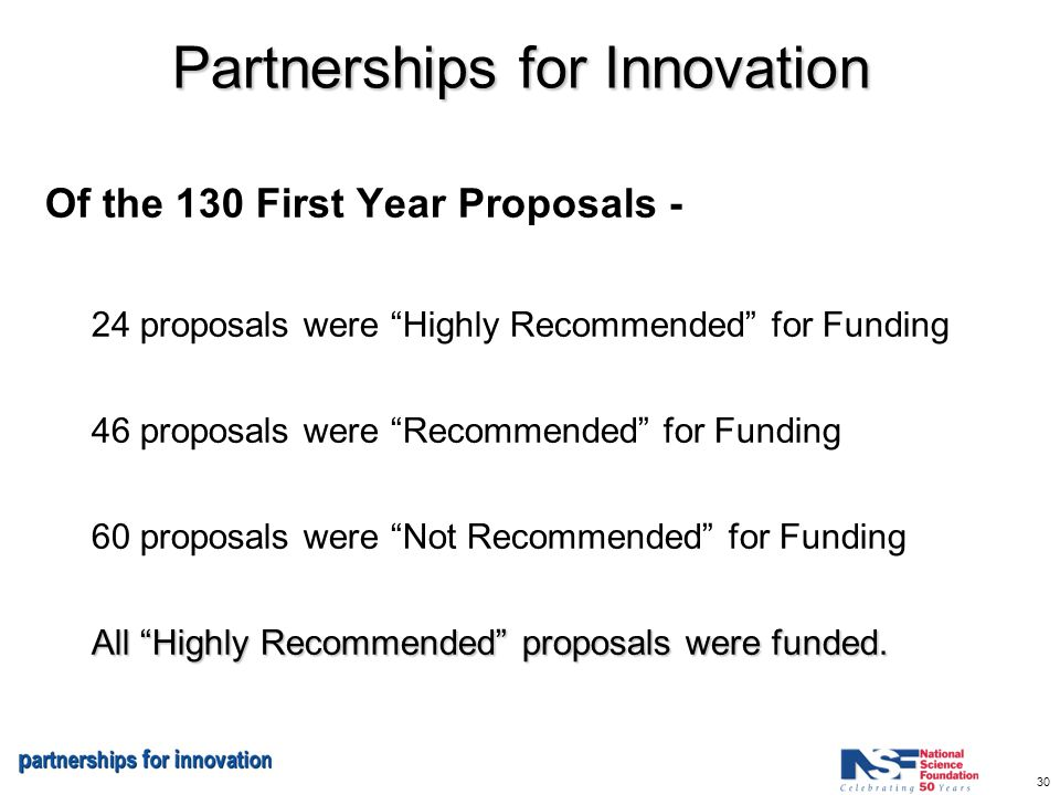30 Partnerships for Innovation Of the 130 First Year Proposals - 24 proposals were Highly Recommended for Funding 46 proposals were Recommended for Funding 60 proposals were Not Recommended for Funding All Highly Recommended proposals were funded.