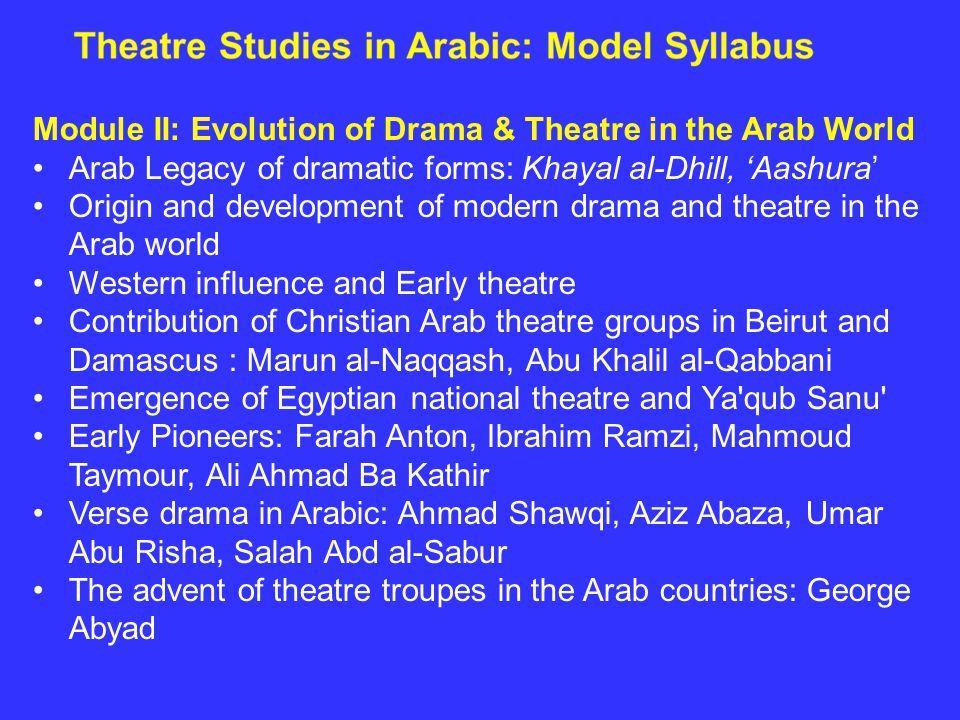 Module II: Evolution of Drama & Theatre in the Arab World Arab Legacy of dramatic forms: Khayal al-Dhill, 'Aashura' Origin and development of modern d
