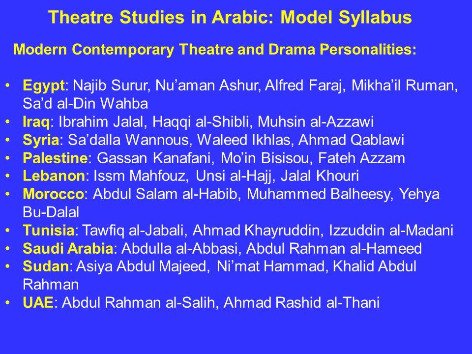 Modern Contemporary Theatre and Drama Personalities: Egypt: Najib Surur, Nu'aman Ashur, Alfred Faraj, Mikha'il Ruman, Sa'd al-Din Wahba Iraq: Ibrahim Jalal, Haqqi al-Shibli, Muhsin al-Azzawi Syria: Sa'dalla Wannous, Waleed Ikhlas, Ahmad Qablawi Palestine: Gassan Kanafani, Mo'in Bisisou, Fateh Azzam Lebanon: Issm Mahfouz, Unsi al-Hajj, Jalal Khouri Morocco: Abdul Salam al-Habib, Muhammed Balheesy, Yehya Bu-Dalal Tunisia: Tawfiq al-Jabali, Ahmad Khayruddin, Izzuddin al-Madani Saudi Arabia: Abdulla al-Abbasi, Abdul Rahman al-Hameed Sudan: Asiya Abdul Majeed, Ni'mat Hammad, Khalid Abdul Rahman UAE: Abdul Rahman al-Salih, Ahmad Rashid al-Thani