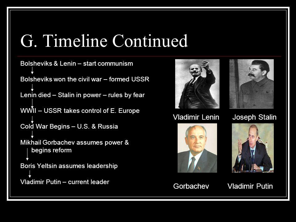 G. Timeline Continued Bolsheviks & Lenin – start communism Bolsheviks won the civil war – formed USSR Lenin died – Stalin in power – rules by fear WWI