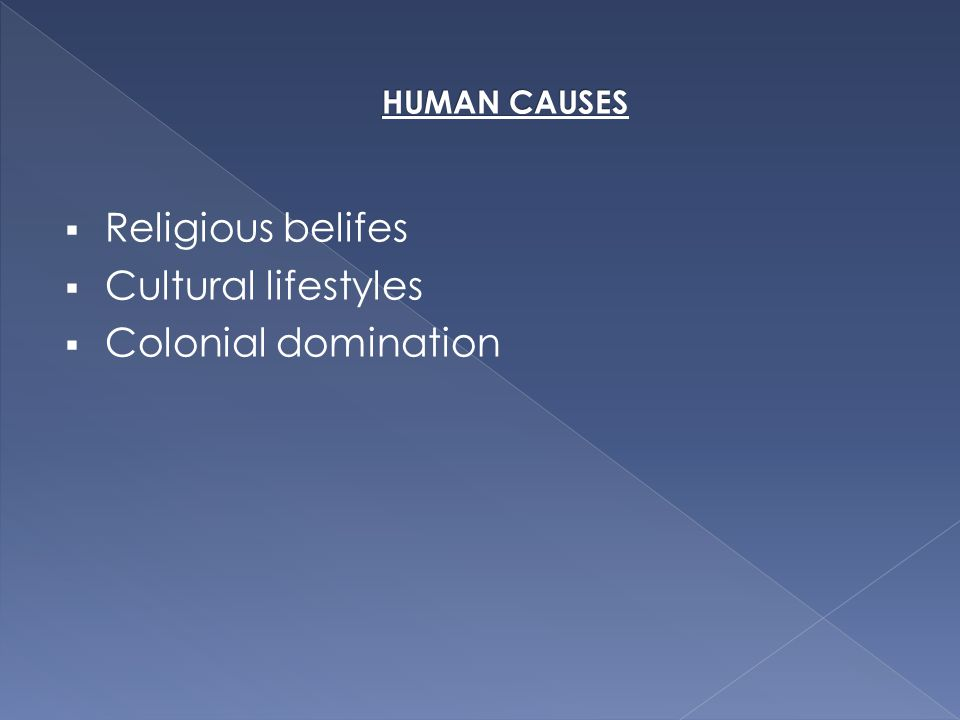 Religious belifes  Cultural lifestyles  Colonial domination
