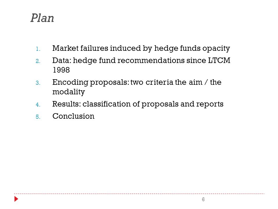 6 Plan 1. Market failures induced by hedge funds opacity 2.