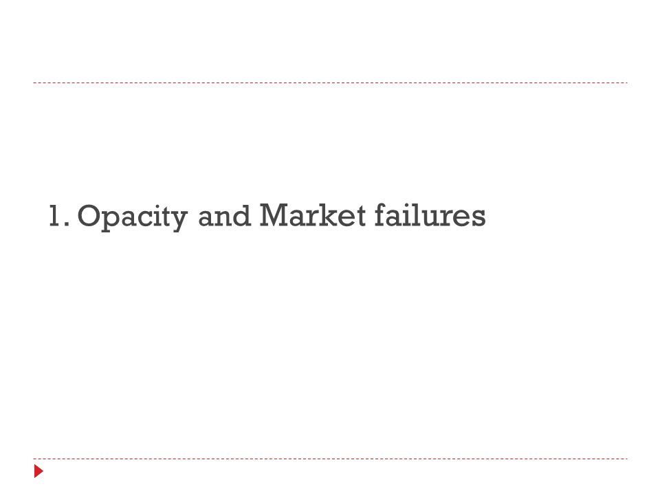 1. Opacity and Market failures
