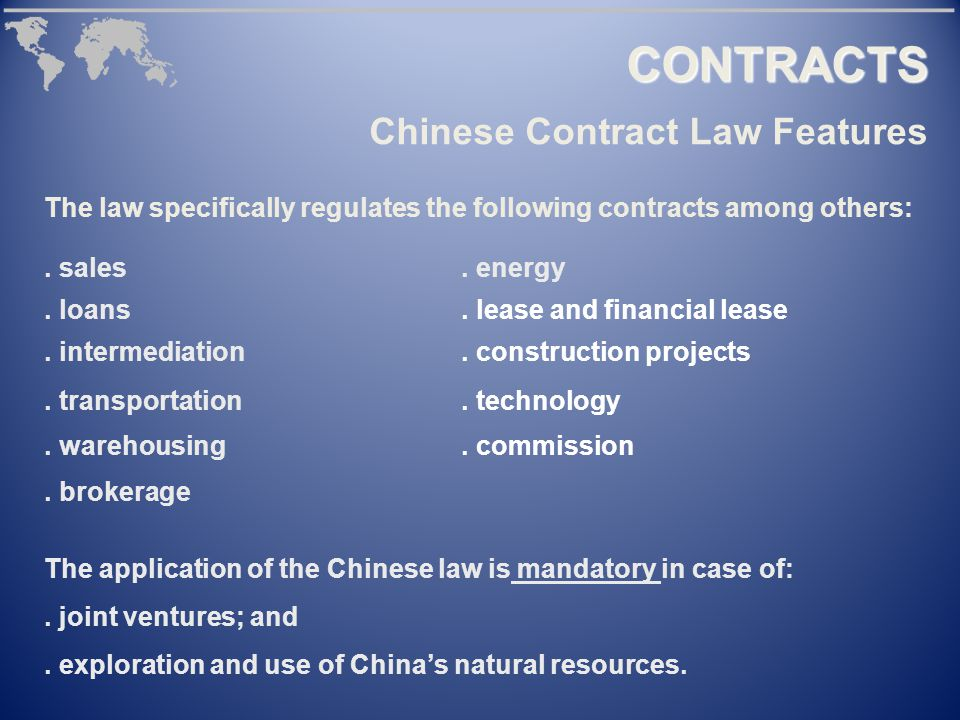 CONTRACTS The law specifically regulates the following contracts among others:.