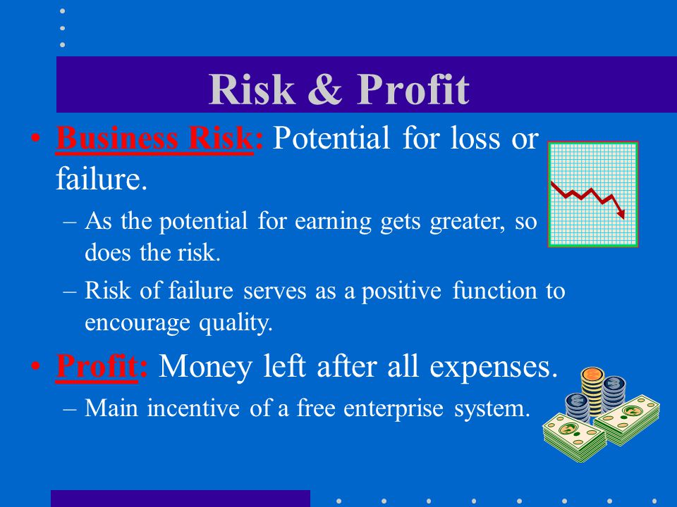 Risk & Profit Business Risk: Potential for loss or failure. –As the potential for earning gets greater, so does the risk. –Risk of failure serves as a