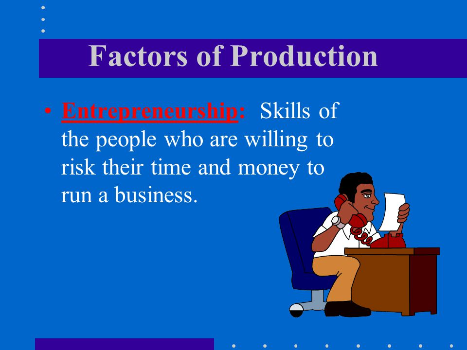 Factors of Production Entrepreneurship: Skills of the people who are willing to risk their time and money to run a business.