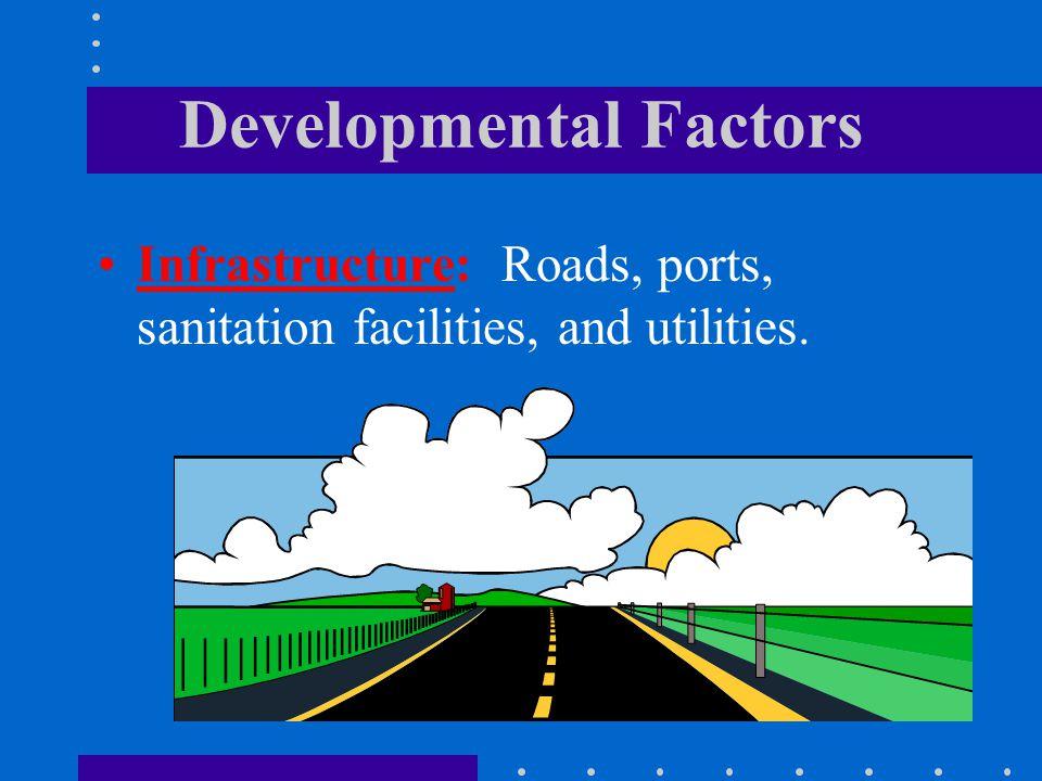 Developmental Factors Infrastructure: Roads, ports, sanitation facilities, and utilities.