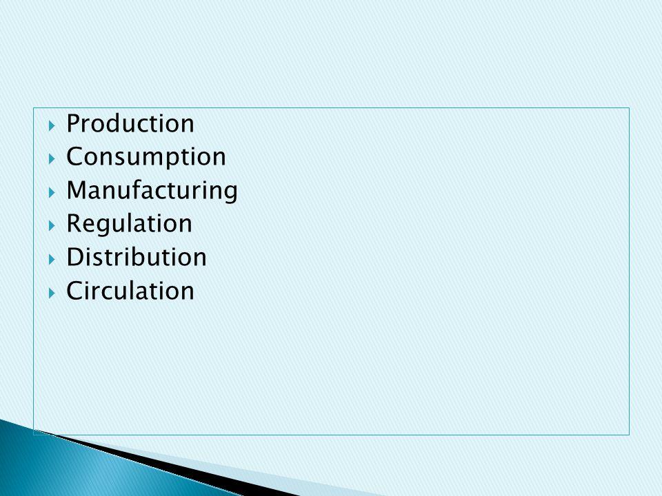  Production  Consumption  Manufacturing  Regulation  Distribution  Circulation