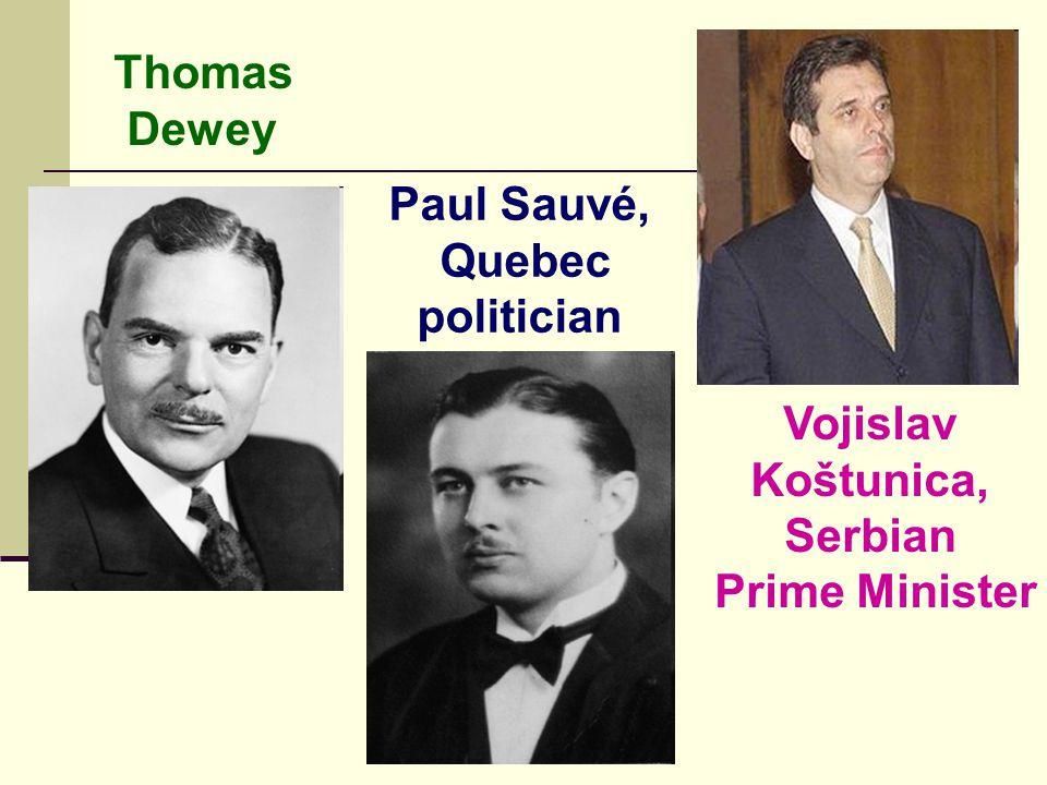 Thomas Dewey Paul Sauvé, Quebec politician Vojislav Koštunica, Serbian Prime Minister