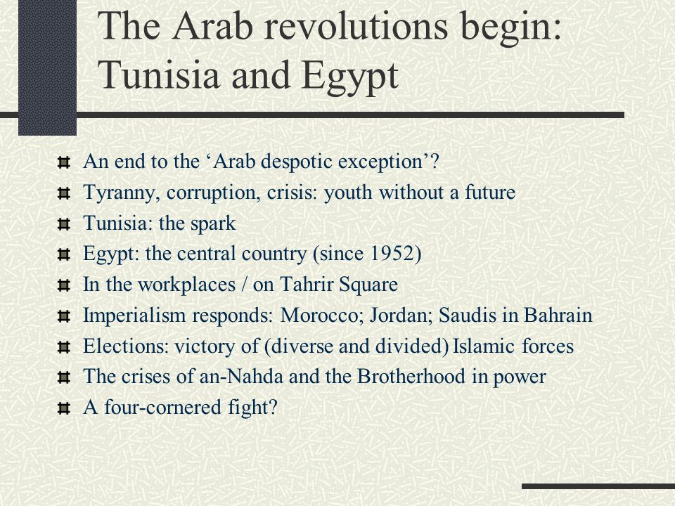 The Arab revolutions begin: Tunisia and Egypt An end to the 'Arab despotic exception'? Tyranny, corruption, crisis: youth without a future Tunisia: th